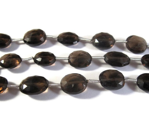 Natural Smoky Quartz Beads, Gemstone Faceted Oval Beads for Making Jewelry, Approximately 10 Faceted Oval Beads (S-Sq3)