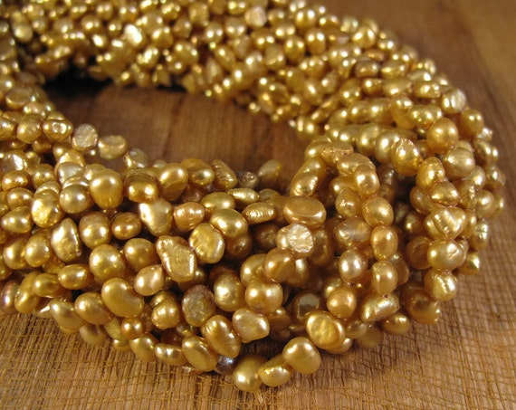 Freshwater Pearls, Delicate Golden Yellow Nugget Pearl Beads, 3.5-4mm, 15 Inch Strand, Long Drilled, Over 46 Loose Pearls (P-N2)