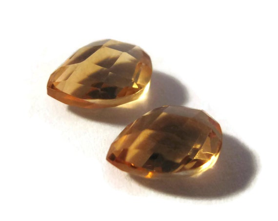 Two NON DRILLED Gemstones, Matching Yellow Citrine Teardrops for Making Jewelry & Setting, 8mm x 6mm (Luxe-Nd5)