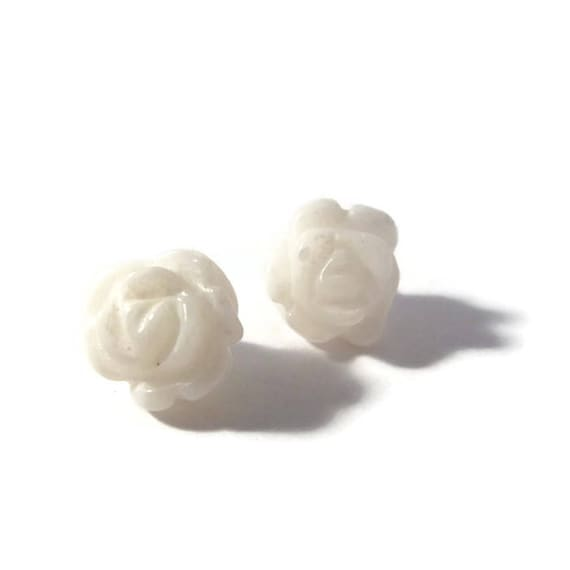 Two Matching Gemstone Beads, 2 Rose Beads, Matched Pair, 17mm x 12mm, White Beads for Jewelry Making (Pt-Ho1b)