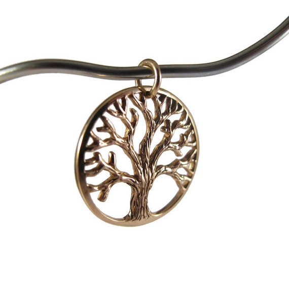 Gold Tree Charm, Tree Of Life Pendant, Large 22mm Natural Bronze Charm, Necklace Pendant, Charm Bracelet, Jewelry Supplies (CH 734 b)