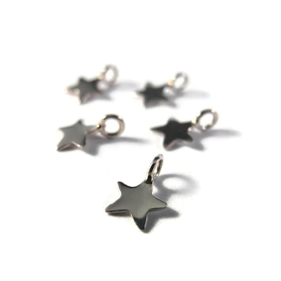 Star Charm, Sterling Silver Star Pendant, Small Lucky Star Charm for Making Jewelry - Ch-s3050