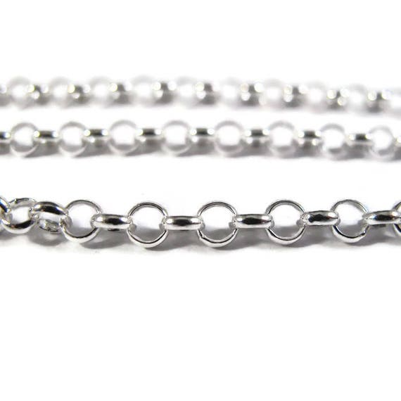 Silver Rolo Chain, By The Foot,  Medium Sterling Silver Filled 4mm Chain, Charm Bracelet, Necklace Supplies (FSsf136/90f)