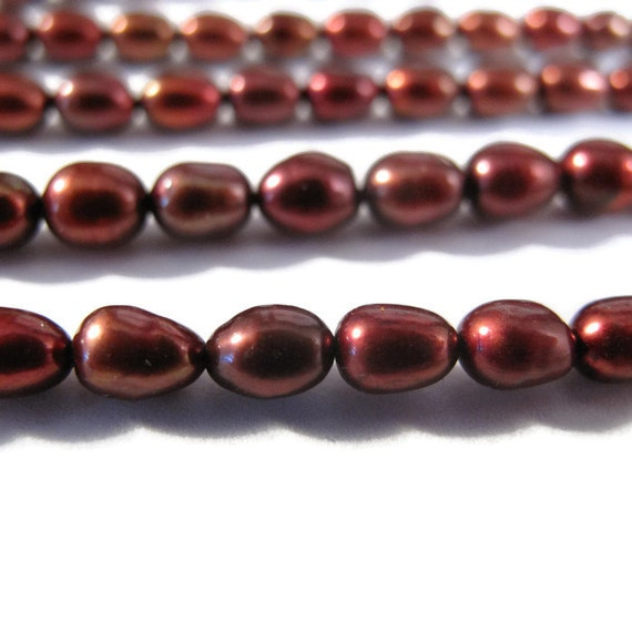Natural Freshwater Pearl Beads, Brown - Red Rice Pearls, 4.5mm - 5mm, 16 Inch Strand, Jewelry Supplies (P-R6)