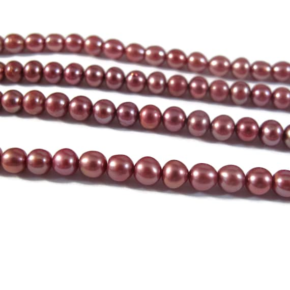 Pink Pearl Beads, Lustrous Freshwater Pearl Beads, 4.5mm - 5mm Genuine Pearls for Making Jewelry, 16 Inch Strand (P-P12)