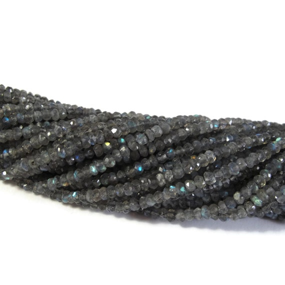 Natural Labradorite Beads, Faceted Gemstone Rondelles, 13 Inch Strand, Over 130 Natural Gemstones for Making Jewelry, 3.5-4mm (R-Lab2)