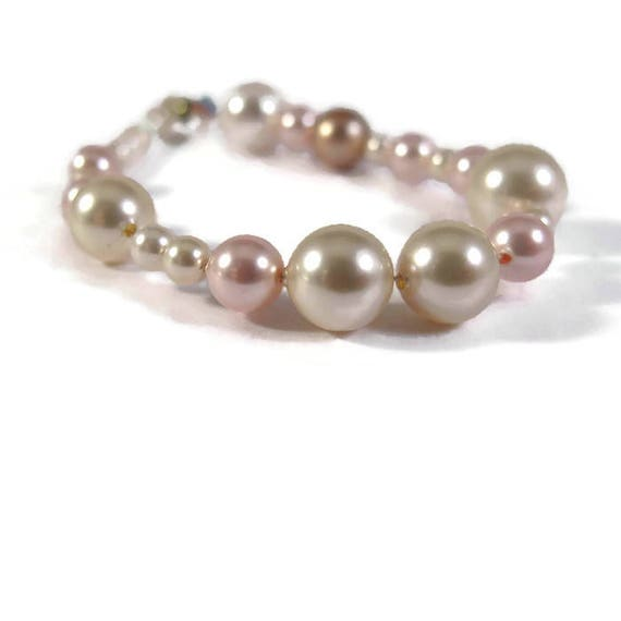 Brilliant Strand of Swarovski Pearls and Crystals, 31 Beads, Large Round Pearls, Jewelry Supplies (L-Mix10d)