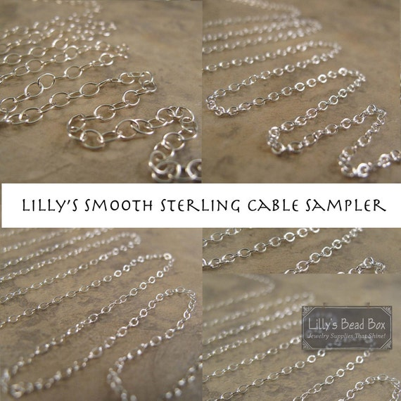 Cable Chain Sampler: 3 Chains - 3 Inches, Smooth Cable Chain Sampler, .925 Sterling Silver Chains for Making Jewelry