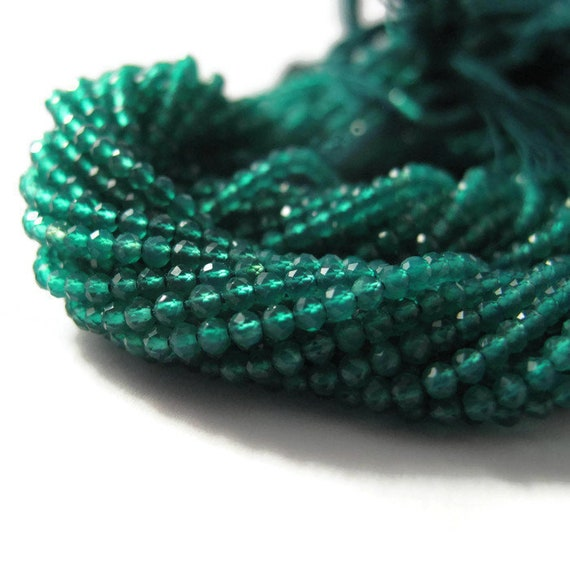 Green Onyx Rounds, Faceted Round Beads for Making Jewelry, Emerald Substitute, 6.5 Inch Strand, 2mm - 2.2mm, Gemstone Beads
