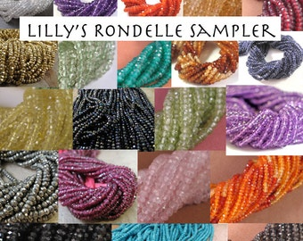Three Sets of 20 Gemstone Beads, Rondelle Sampler, 3  Sets of 20 Rondelles, You Choose the Stones! Tiny Gemstone Beads for Jewelry Making