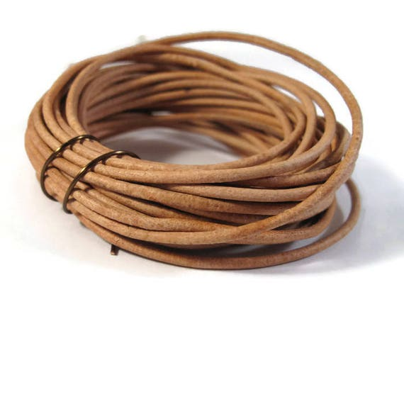 7 Feet of Natural Tan Leather Cord, 2mm Round Cord For Jewelry, Craft Supplies, Natural Light Brown Leather Cord