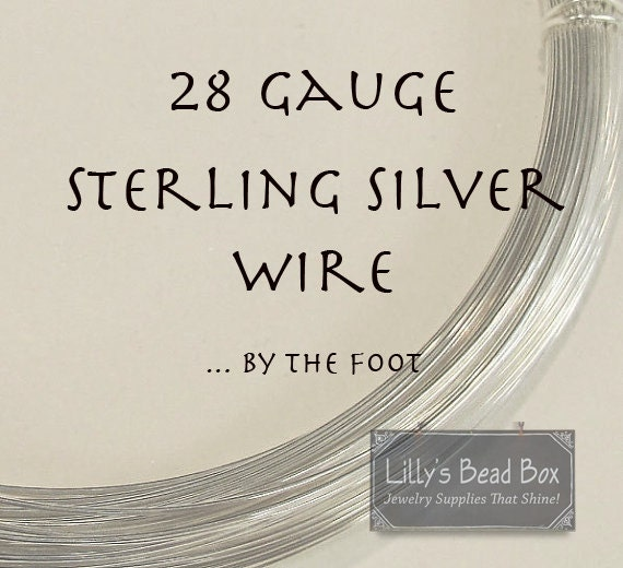 28 Gauge Sterling Silver Wire , Thin Silver Wire, By The Foot, Round, Half Hard Wire for Wire Wrapping Jewelry and Gemstones