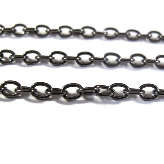 One Foot of Dark GUNMETAL Cable Chain, 1 Foot / 12 Inches of 4.6mm Dark Chain for Making Jewelry, Large Gunmetal Cable Chain (GM40099199)