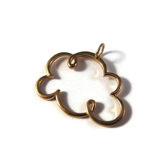 Gold Cloud Charm, Natural Bronze Openwork Pendant, Soft Gold Celestial Charm, Large Link for Jewelry Making (CH 881b)
