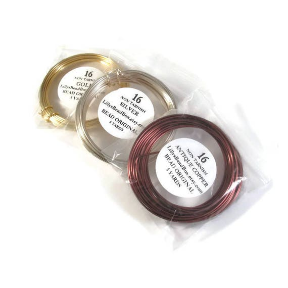 Non Tarnish Plated Wire, 16 Gauge Round Wire for Making Jewelry, Antique Copper, Gold or Silver : You Pick! Wrapping Supplies, 5 Yard Spool