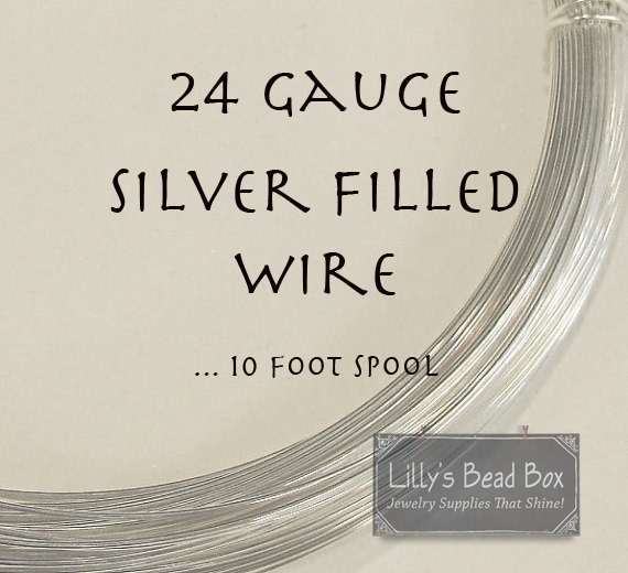 24 Gauge Wire, Silver FILLED Wire, Ten (10) Feet, Round, Half Hard Wire for Wire Wrapping Gemstones, Beads and Jewelry