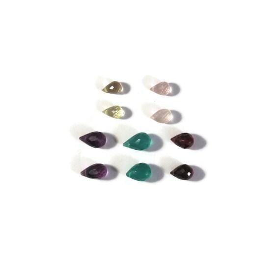 10 Gemstone Beads, Natural Gemstone Mix, Garnet, Amethyst, Green Onyx, Rose Quartz & Lemon Quartz Briolette Mix (B-Mix4)