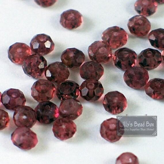 Natural Garnet Beads, Tiny Garnet Rondelle, 20 Count Garnet Beads for Making Jewelry, 3.5mm - 4mm Gemstones (L-Ga6)