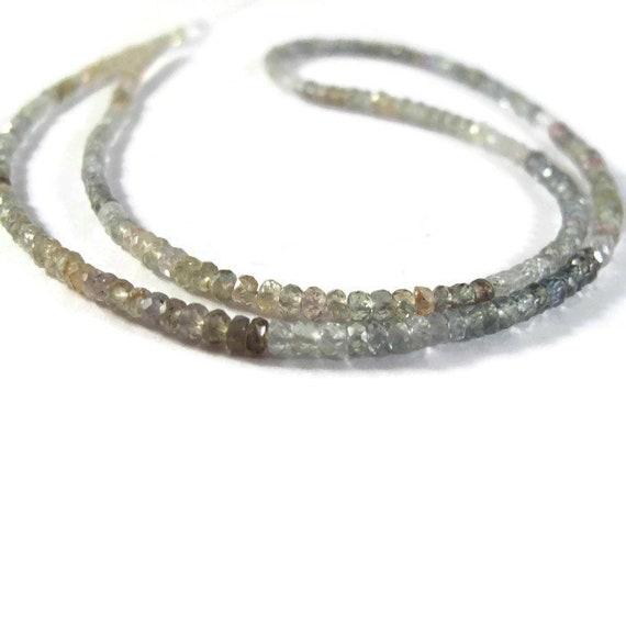 Montana Sapphire Rondelles, Gemstone Beads, Heat Treated, 2.2mm - 3.2mm, 18 Inch Strand (Luxe-Sa1)