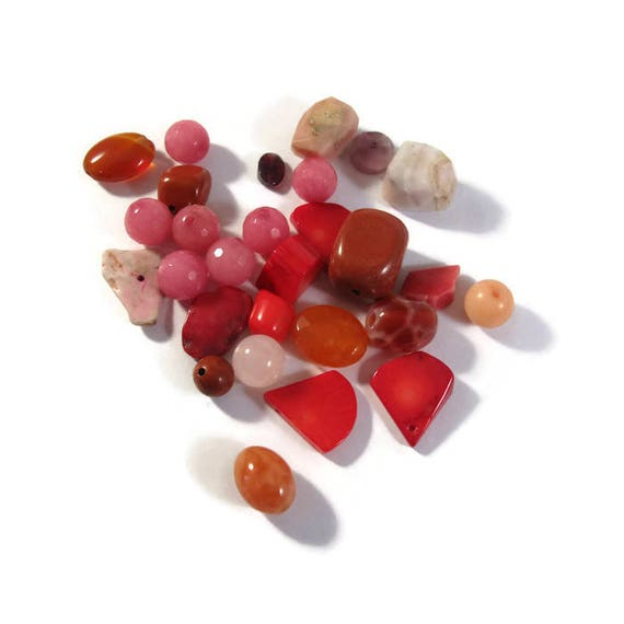 Gemstone Bead Mix, Red, Coral, Pink Opal, Gemstone Grab Bag, 28 Beads for Making Jewelry, Assorted Shapes and Sizes (L-Mix1e)
