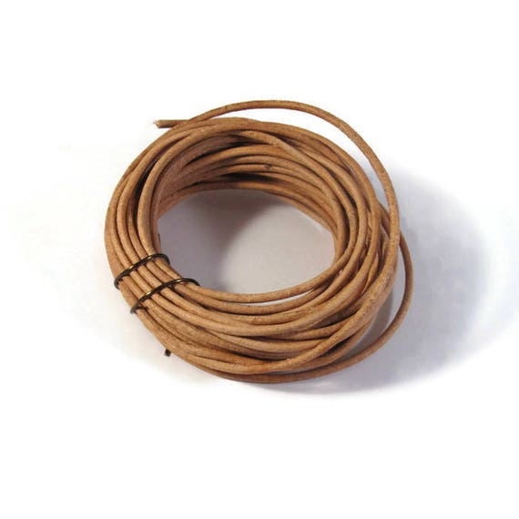 Natural Tan Leather, 3.5 Foot Strand of Brown Round Leather, 2mm, 3.5 Foot Coil, Great for Wrap Bracelets and Jewelry Making