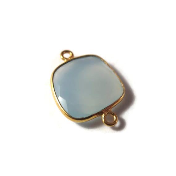 One Blue Gemstone Pendant, Light Blue Chalcedony Gemstone Charm, Gold Plated Bezel, 21mm x 15mm (C-Ch1f)