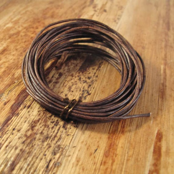 Natural Brown Leather, Strand of Antique Brown Round Leather, 1.0mm, 5 Yard Coil, Wrap Bracelets and Jewelry Making, 15 Feet of Leather