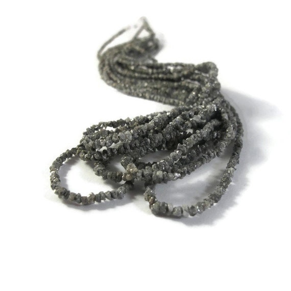 Rough Diamond Beads, Tiny Silvery Gray Nuggets, Natural Raw Diamonds, Conflict Free, Gray Diamonds - Luxe-Di8