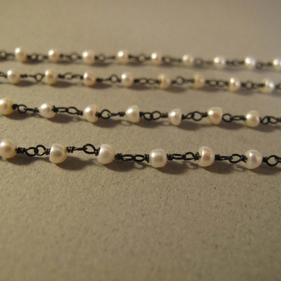 Oxidized Sterling Silver & Freshwater Pearl Chain, White Pearl Rosary Chain for Making Jewelry, By the Foot, Jewelry Supplies (L-Pe1)