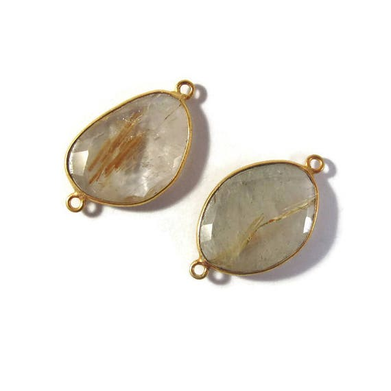 Two Golden Rutile Quartz Charms, 2 Matching Shimmering Natural Gemstone Pendants, Gold & Clear, Jewelry Supplies (C-Ru5d)