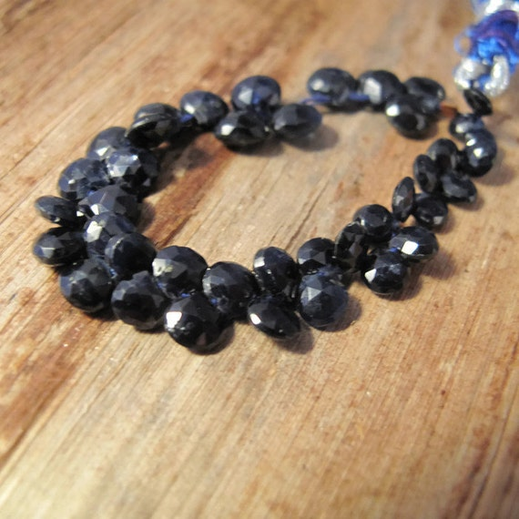 Natural Sapphire Beads, 4 Inch Strand of Briolettes, Teardrop Beads, 30+ Stones , 4mm x 4mm - 6mm x 6mm, September Birthstone (Luxe-Sa6a)