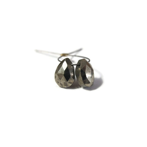 Two Pyrite Gemstone Beads, Pair of Pyrite Teardrops, 2 Metallic Stones for Making Jewelry, Fools Gold Teardrops (B-Py2c)