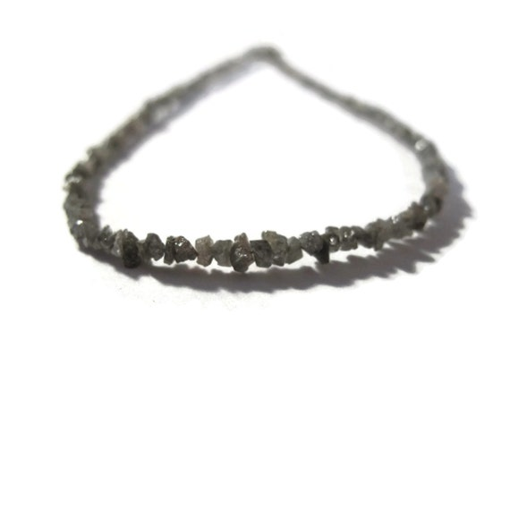Rough Diamond Beads, Tiny Silvery Gray Nuggets, Natural Raw Diamond Beads, Conflict Free, 8 inch Strand, Gray Diamonds (S-Di8a)