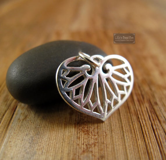 Egyptian Leaf Charm, .925 Sterling Silver Heart Shaped Leaf Charm for Necklaces or Bracelets, 18mm x 14mm (CH 843)