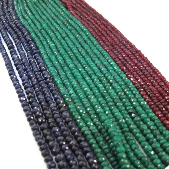 Ruby, Emerald or Sapphire Beads, Rondelles, 6.5 Inch Strand of Gemstones, 3.5mm - 4.5mm Beads for Making Jewelry (R-Prec1)