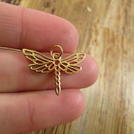 Gold Dragonfly Charm, Natural Bronze Dragonfly Charm for Gold Jewelry, Charm Necklace or Bracelet, Large Charm (Ch 567b)