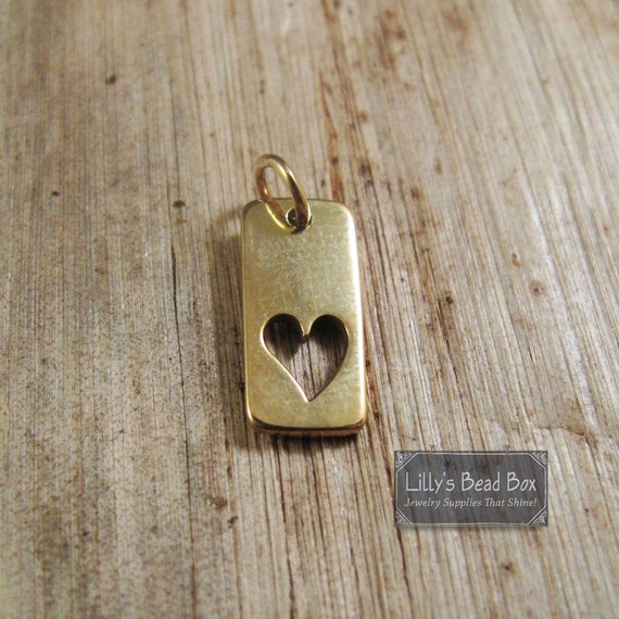 Gold Heart Charm, Bronze Tag with Cutout Heart Pendant, Rectangle Charm with Heart Cutout for Jewelry Making (CH 496b)