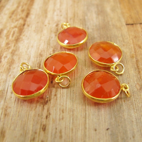 Orange Gemstone Charm, Round Chalcedony Pendant with Gold Plated Bezel, Faceted Gemstone Dangle (C-Ra1g)