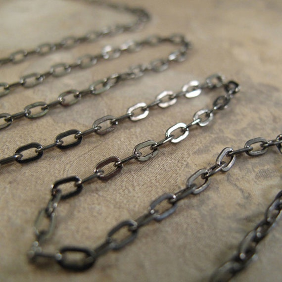 Two Feet of Gunmetal Cable Chain, 2 Feet / 24 Inches of 2.1mm Gunmetal FLAT Cable Chain for Making Jewelry (40099169)