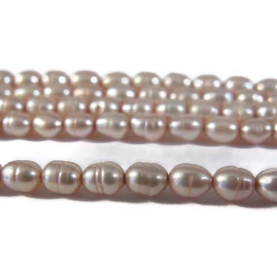 Pink Champagne Pearls, Over 80 Natural Freshwater Rice Pearls, Pale Pink Beads, 15.5 Inch Strand, 5mm x 3.5mm, Jewelry Supplies (P-R13)