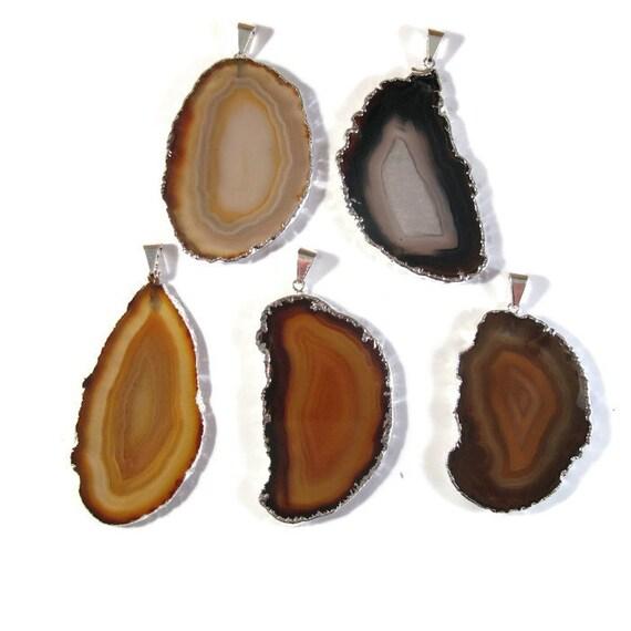 Brown Gemstone Pendant, Silver Plated Charm, Natural Gemstone, Agate Slice Pendant, Bezel Set Gemstone - You Pick! (C-Ag18)