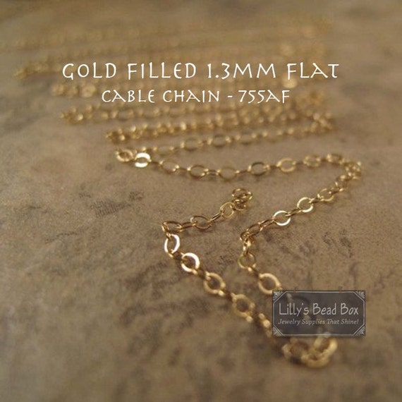 15 Feet of Thin Gold Chain, 15 Feet of 14/20 Gold Filled 1.3mm Flat Cable Chain for Making Jewelry, Everyday Necklace (755af)