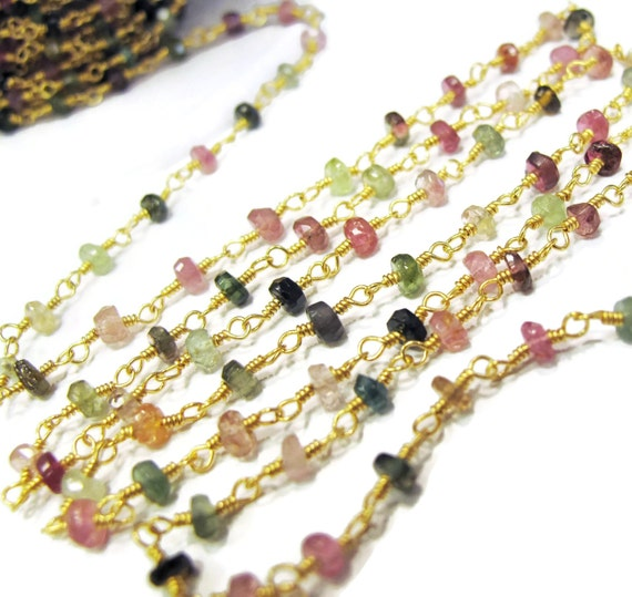 Tourmaline Rosary Chain, Short lengths of Beaded Chain, Natural Gemstones, Hand Wrapped On Gold Plated Wire, Jewelry Supplies