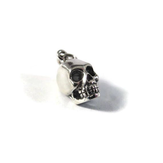 Silver Skull Charm, .925 Sterling Silver Charm for Making Jewelry, Halloween Pendant, Bracelet or Necklace (CH 578)