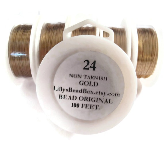 XL Spool - Gold Plated Wire - 24 Gauge - 100 Feet -  Round Wire for Making Jewelry, Non Tarnish Wire, Wire Wrapping Supplies