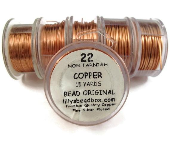 Copper Wire, 22 Gauge Round Wire for Making Jewlery, Non Tarnish Wire, 18 Yard Spool, Wire Wrapping Supplies, Pure Copper WIre, Thin Wire