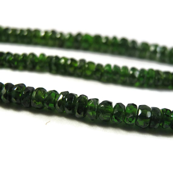 Gemstone Rondelle Beads, Gorgeous Green Chrome Diopside Faceted Rondelles, 8 Inch Strand, 3mm - 3.8mm, Jewelry Supplies (Luxe-Cd1a)