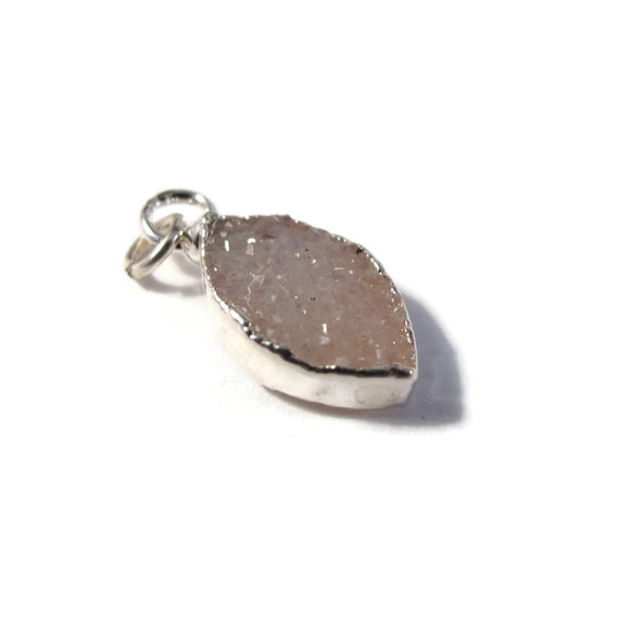 Little Druzy Charm, Pale Purple and Silver Druzy Quartz Pendant for Jewelry Making, 17mm x 8mm, Druzy Drop Charm (C-Dr3)