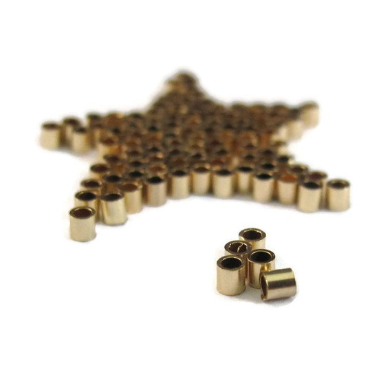 Gold Crimp Beads, 50 Gold Filled 2mm Tube Crimps, 2x2mm Crimping Beads, 50 Count, Clasps, Gold Findings, Crimper (F-1112f)
