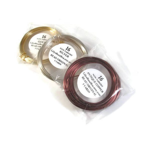 Non Tarnish Plated Wire, 3 Spools of 16 Gauge Round Wire for Making Jewelry, Antique Copper, Gold & Silver, Wrapping Supplies, 5 Yard Spools